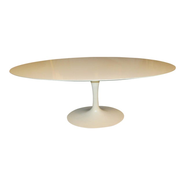 Authentic VIntage Knoll Saarinen Oval Tulip Base Dining Table Chairish - Original saarinen tulip table