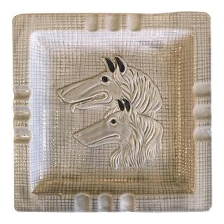 Afghan Hound Glazed Ceramic Ashtray