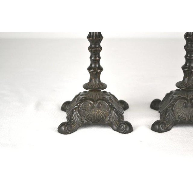 Blackened Brass Candlesticks - A Pair For Sale In Denver - Image 6 of 8