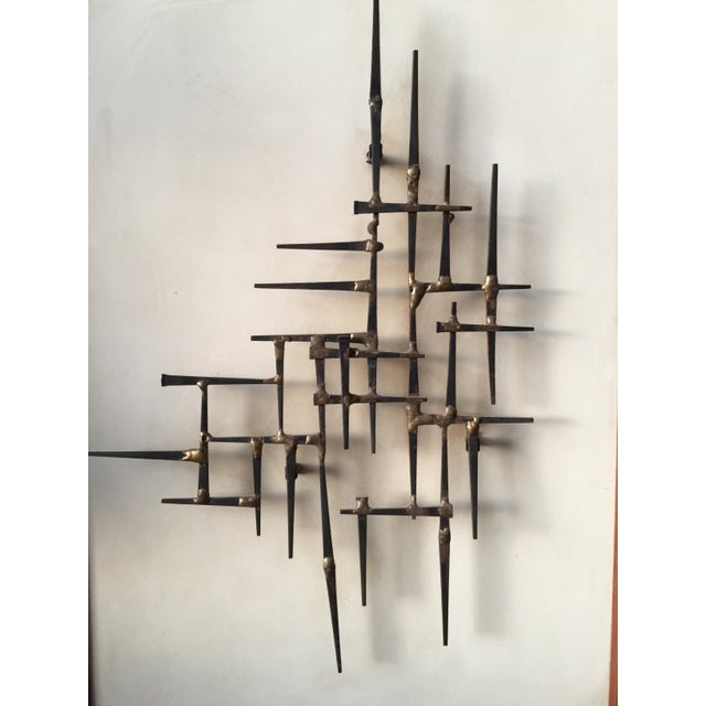 Brutalist Mid-Century Nailhead Wall Art For Sale - Image 3 of 7