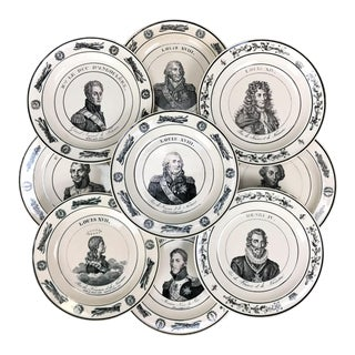 Mid 19th French Creamware Portrait Plates- Set of 9 For Sale
