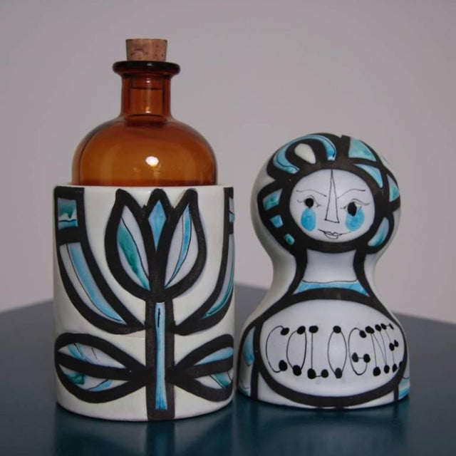 Mid-Century Modern Signed Roger Capron Cologne Bottle for Vallauris For Sale - Image 3 of 5