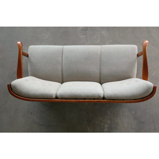 Wood Fritz Hansen 1940's Model 1594 Spindle Back Sofa Danish Midcentury For Sale - Image 7 of 13