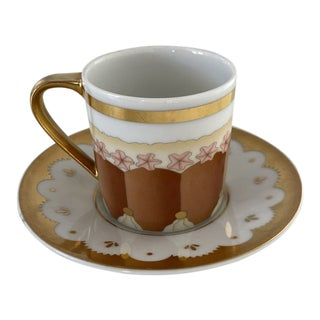 Bulgari Dolci Deco Espresso Cup and Saucer For Sale