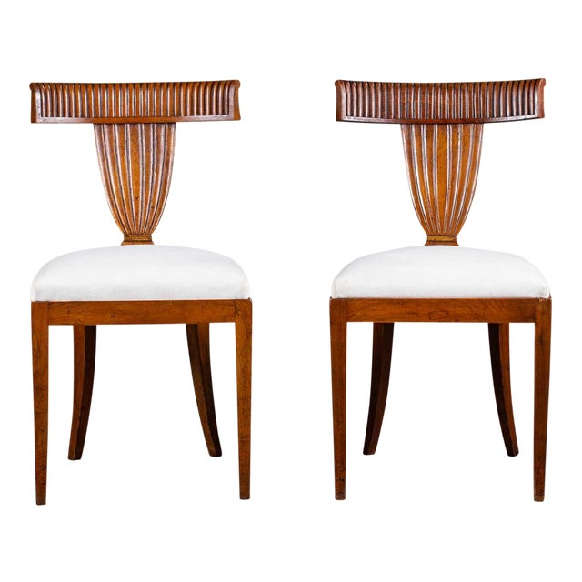Antique 1890s Italian Empire Walnut Neoclassical Chairs - a Pair For Sale