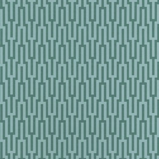 Schumacher Metropolitan Fret Wallpaper in Turquoise For Sale