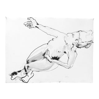 """Plunge"" Ink & Charcoal Drawing For Sale"