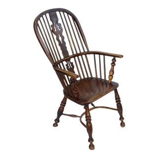 Large English High Back Windsor Armchair For Sale