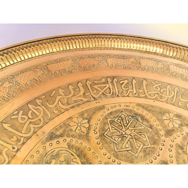Indo-Persian Handcrafted Decorative Hammered Brass Tray For Sale - Image 12 of 13