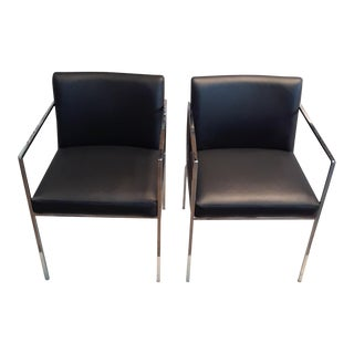 1980s Modern Contemporary Black Leather and Chrome Chairs - a Pair