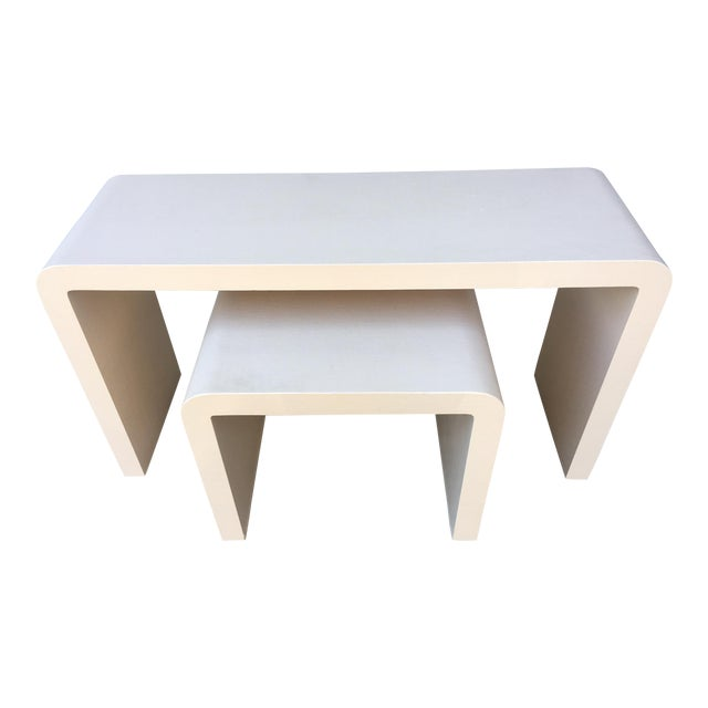 Modernist Waterfall Lacquered Linen Console and Side Table For Sale
