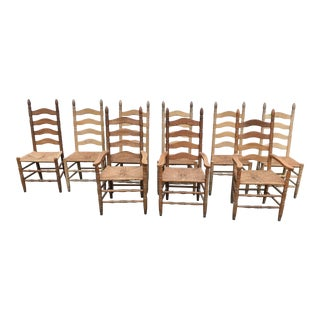 1950s Cottage Nine Rush Seat Dining Chairs - Set of 9 For Sale