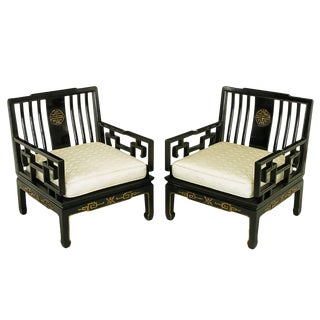 Pair of Ebonized and Parcel-Gilt Asian Club Chairs For Sale