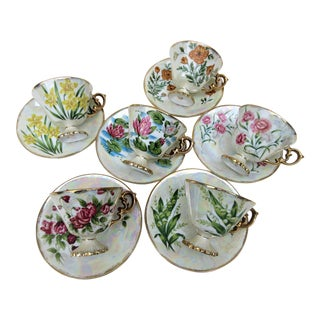 1960s Norleans China Japanese Lusterware Cups and Saucers - Set of 6 For Sale