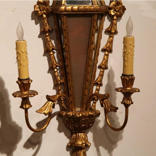 19th Century French Louis XVI Gilt & Mirrored Two-Light Carved Sconces - A Pair For Sale In Dallas - Image 6 of 7