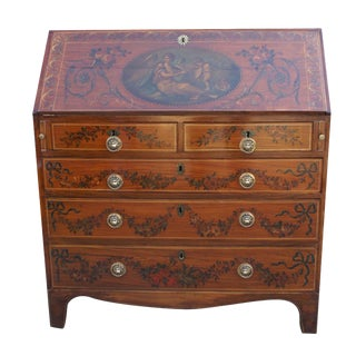 Georgian Painted Satinwood Desk For Sale