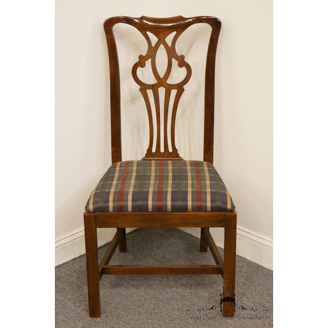 This is a Chippendale style dining chair from Drexel Heritage. The piece is made of mahogany.