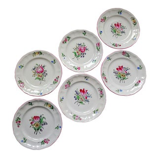 Luneville Old Strasbourg French Faience Pattern Salad Plates - Set of 6 For Sale