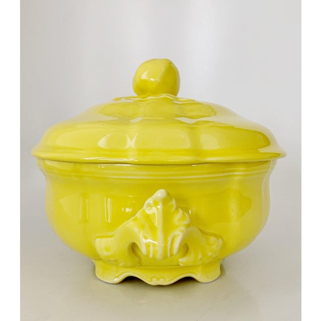 Luneville Tradition France, Yellow Porcelain Louis XV style Tureen. Vintage ca 1950s, french Luneville Tradition bright...