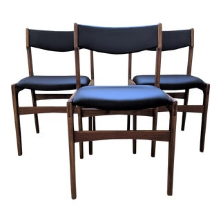 Newly Upholstered Mid Century Modern Teak Dining Chairs - Set of 3 For Sale