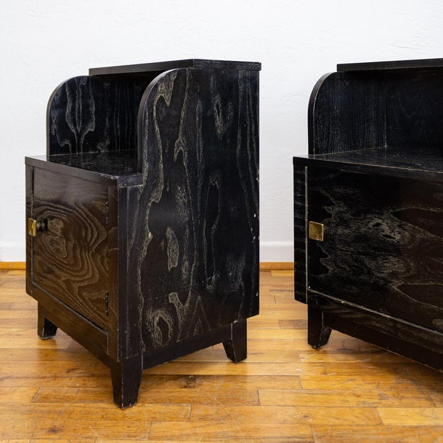Gold Mid Century Nightstands | Black and Brass | Huntley Furniture For Sale - Image 8 of 13