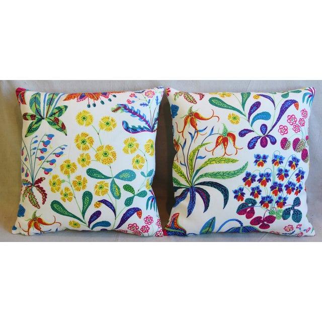 """Pair of custom-tailored double-sided pillows in designer Josef Frank/Svenskt Tenn """"Under Ekatorn"""" printed linen fabric..."""