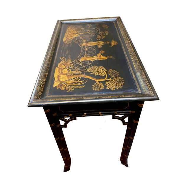 Early 20th Century English Black Lacquer and Parcel Gilt Table For Sale - Image 5 of 6