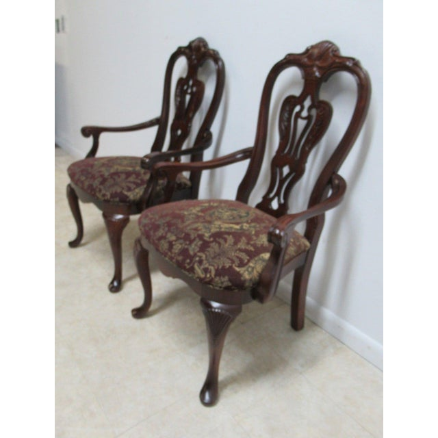 Pair of Thomasville Solid Mahogany Chippendale Dining Room Arm Chairs E Nice shape... light wear. Please see photos as...