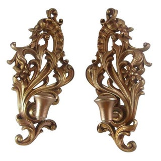 Wall Mount Gilt Wood Candle Sconce - A Pair