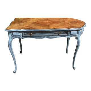 Vintage Hickory Chair Shabby Chic Blue Wood Writing Desk For Sale