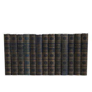 World Classics in Navy & Gold : Set of Twelve Decorative Books For Sale