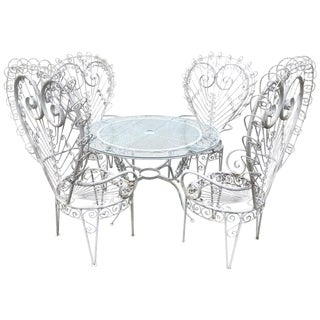 Salterini Style White Iron Peacock Patio Set - 5 Pieces For Sale