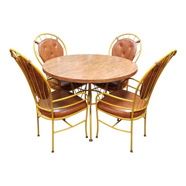 Mid Century Faux Burlwood Yellow Enamel Painted Metal Dinette Set - 5 Pieces For Sale