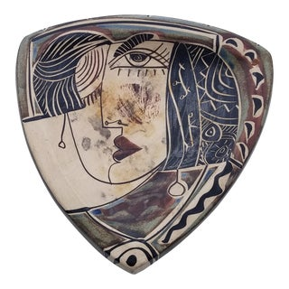 1960s Vintage Picasso Inspired Hand-Painted Pottery Dish For Sale