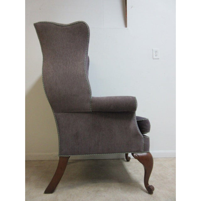 Vintage Purple Wingback Chair For Sale - Image 10 of 11