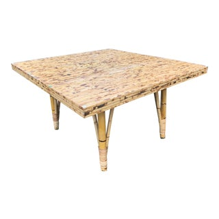 Vintage Natural Rattan Dining Table For Sale