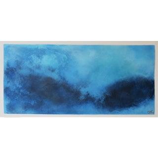 Wash Over Me, Blue. Oil, Fresco. Pastel on Framed Panel. 2020 by C. Damien Fox For Sale