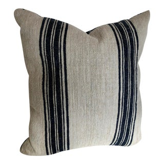Vintage Hand Loomed German Linen and Hemp Grainsack Pillow For Sale