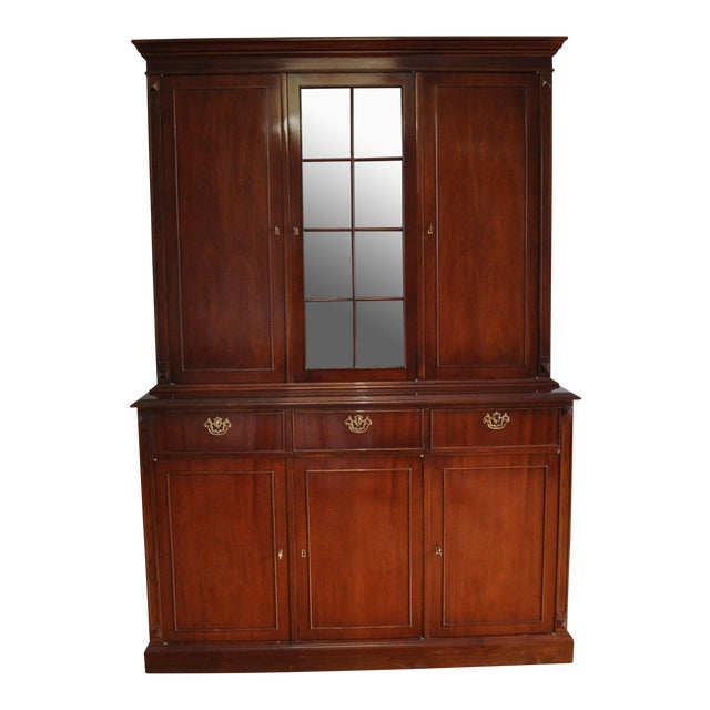 Vintage Artisan Crafted Mohogany Breakfront China Cabinet For Sale