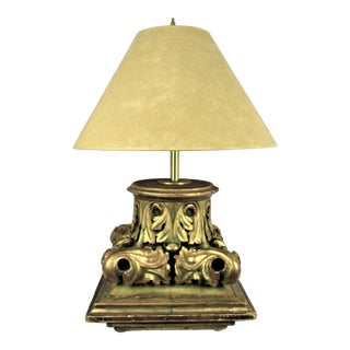 Antique Gold Gilded Wood Carved Capital Element Lamp For Sale