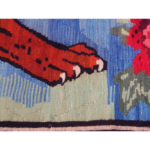 Vintage Gabbeh Lion Kilim Rug - 5'1'' X 7'3'' For Sale - Image 9 of 13
