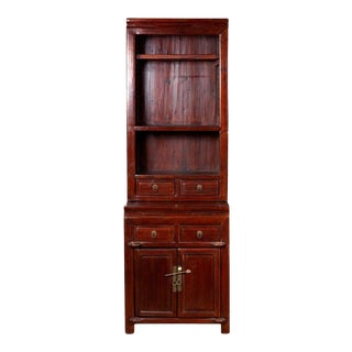 Antique Chinese Tall wo-Part Lacquered Cupboard For Sale