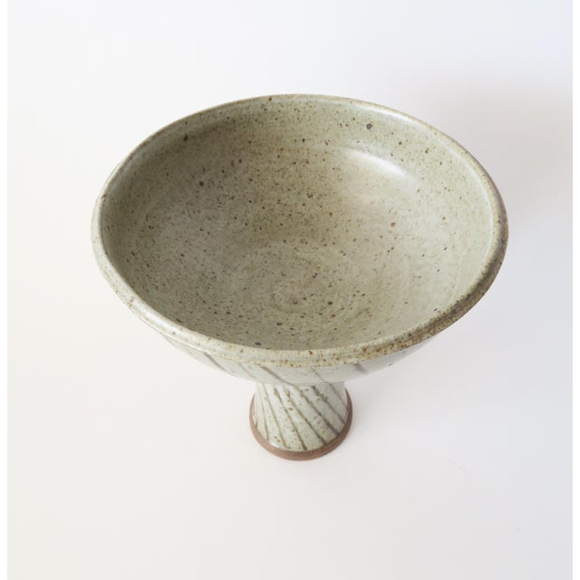Vintage Studio Pottery Footed Compote For Sale - Image 4 of 6
