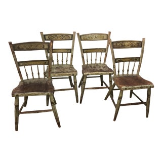 Set of Six American 19th Century Fancy Painted Windsor Side Chairs For Sale