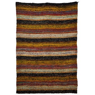 Multi-Color Striped Indian Rug - 4′6″ × 6′7″ For Sale