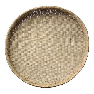 Large Boho Rattan Round Grain Basket For Sale