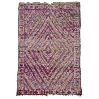 Late 20th Century Purple Beni M'guild Moroccan Rug - 5′7″ × 7′10″ For Sale