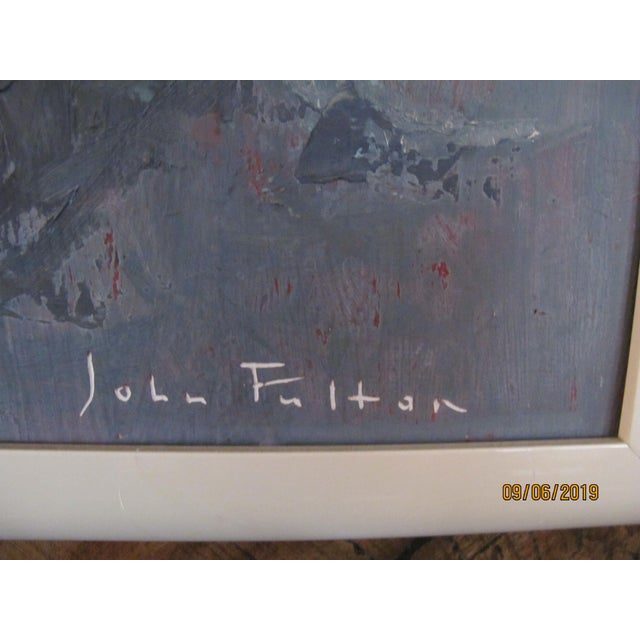 Oil Paint 1970s Vintage John Fulton Short Boy Matador With Newspaper Oil Painting For Sale - Image 7 of 9