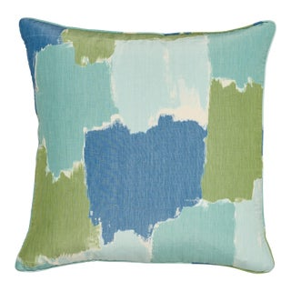 Contemporary Schumacher Colorblock Ikat Aqua Linen Two-Sided Pillow For Sale