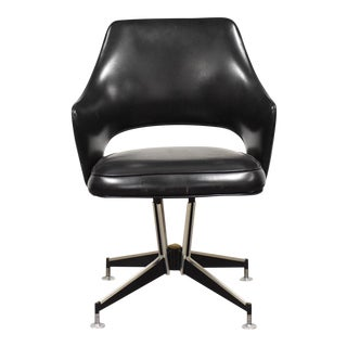 Chrome and Black Vinyl Office Swivel Chair For Sale